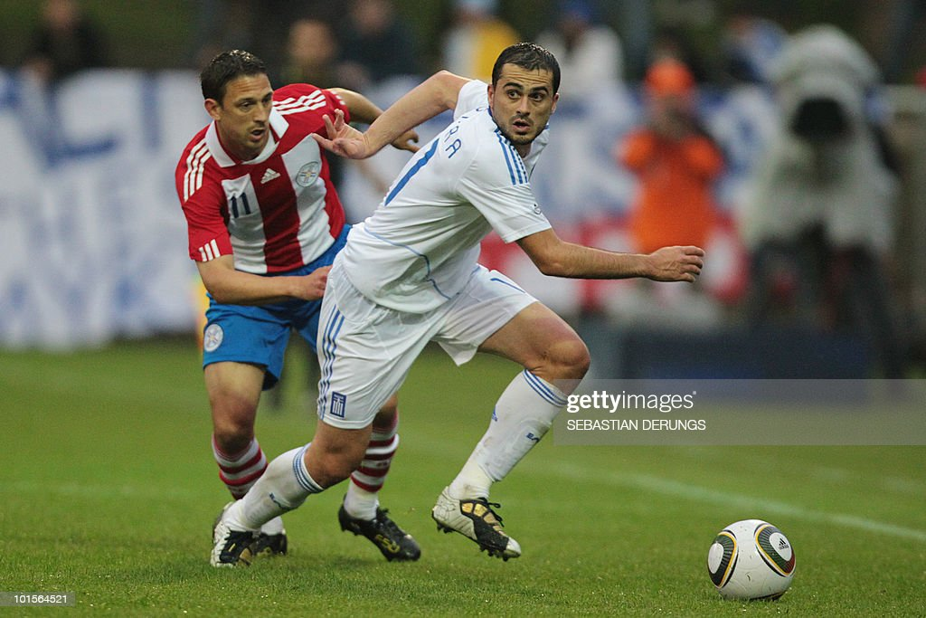 Greece's Loukas Vyntra (R) vies for the ball with Greece's Jonathan Santana during a friendly football game in Winterthur on June 2, 2010 ahead of their participation to the FIFA World Cup 2010 in South Africa.