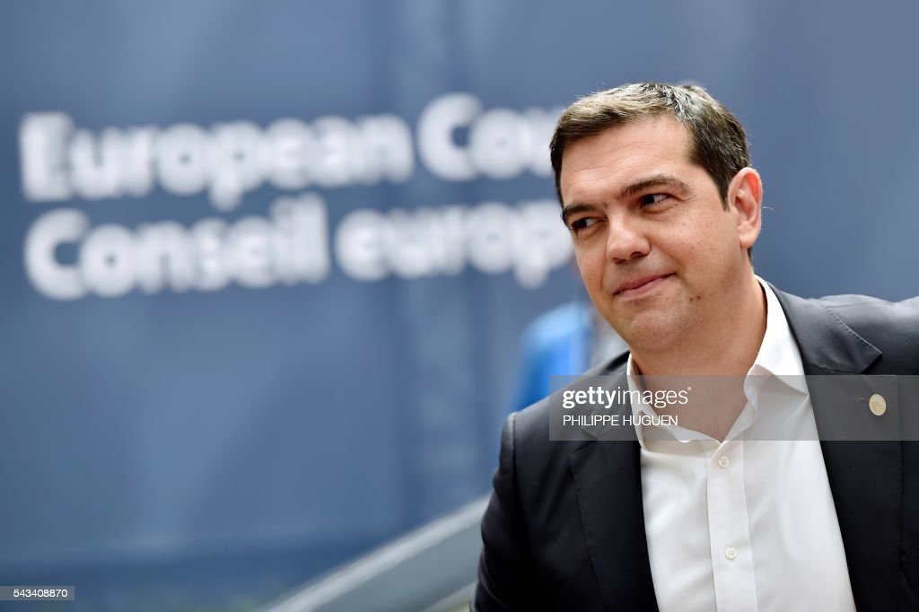 Greece's Prime minister Alexis Tsipras arrives before an EU summit meeting on June 28, 2016 at the European Union headquarters in Brussels. / AFP / PHILIPPE