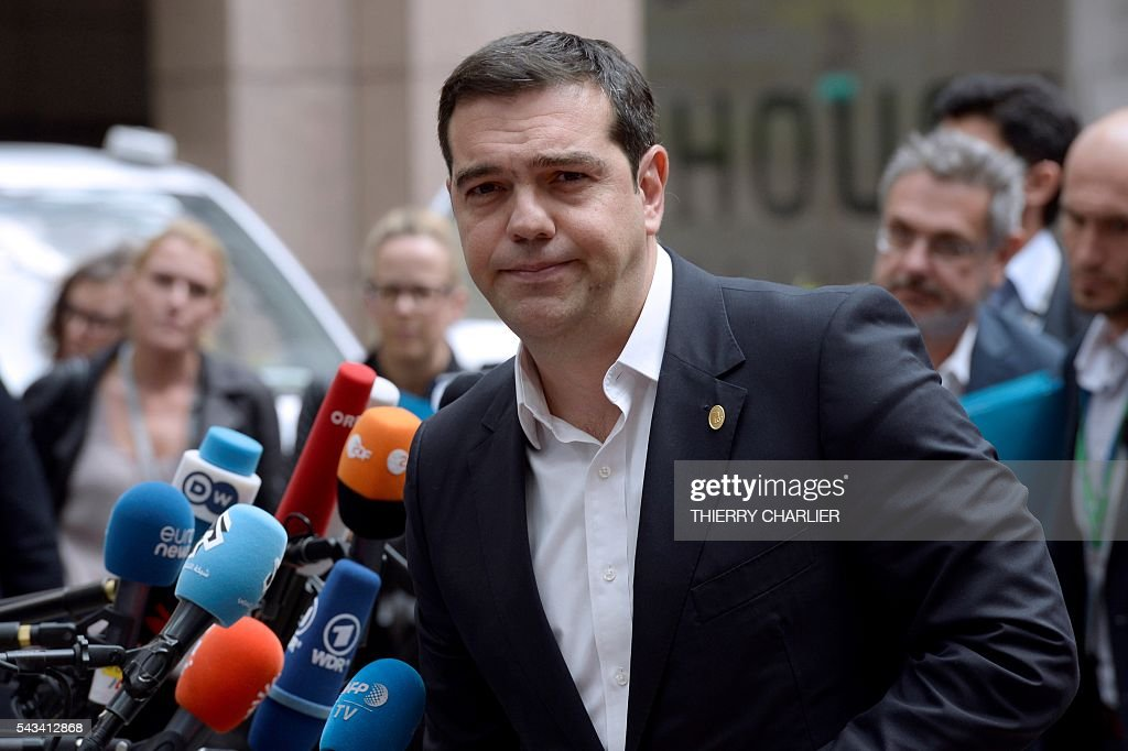 Greece's Prime minister Alexis Tsipras arrives before an EU summit meeting on June 28, 2016 at the European Union headquarters in Brussels. / AFP / THIERRY