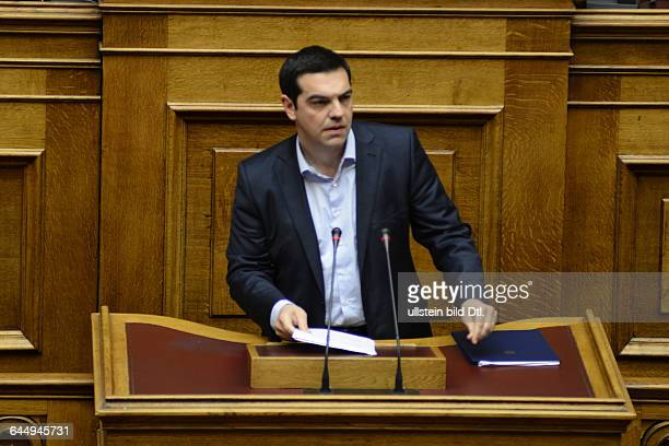 Greece's prime minister Alexis Tsipras gave a briefing to the country's parliament about the negotiations with the country's creditors