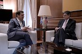 Greece's Prime Minister Alexis Tsipras speaks with US Treasury Secretary Jacob Lew during their meeting in Athens on July 21 2016 US Treasury...