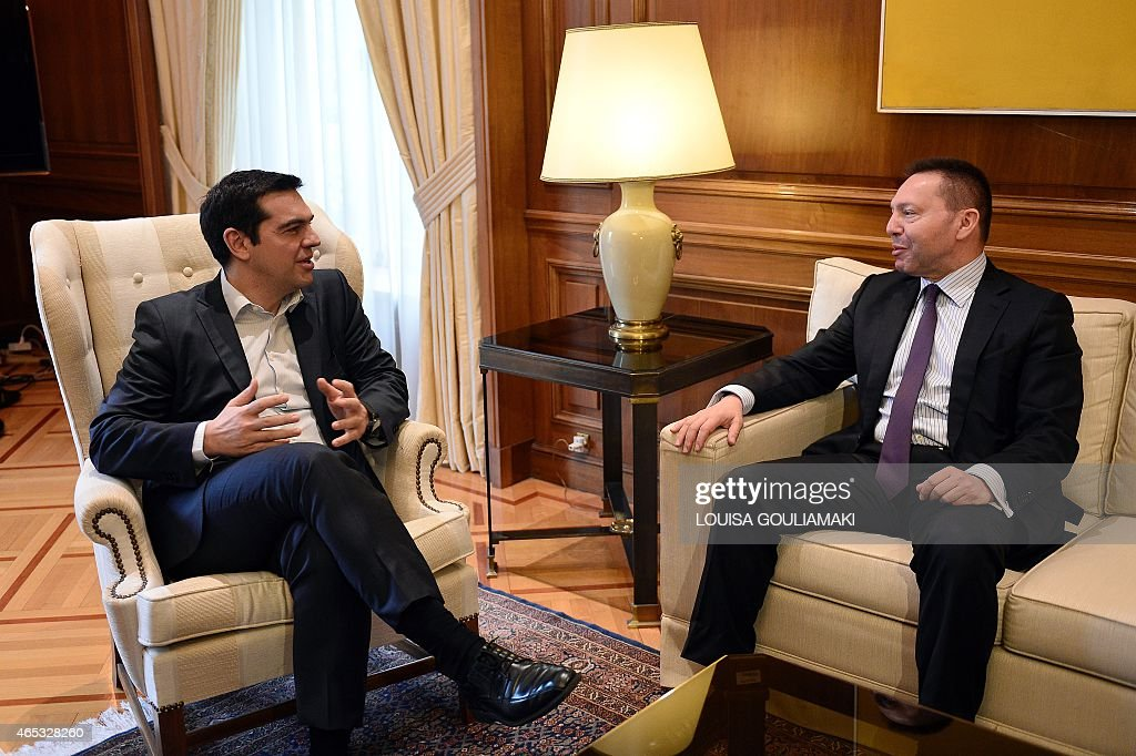 Greece's prime minister <a gi-track='captionPersonalityLinkClicked' href=/galleries/search?phrase=Alexis+Tsipras&family=editorial&specificpeople=6592450 ng-click='$event.stopPropagation()'>Alexis Tsipras</a> (L) talks with the chairman of the Bank of Greece, Yiannis Stournaras during their meeting in Athens on March 6, 2015 after Athens got no help from the European Central Bank to address a cash squeeze. The ECB recently cut off a key channel of financing for Greek banks, saying it would no longer accept Greek sovereign bonds as collateral for loans. Greek Prime Minister <a gi-track='captionPersonalityLinkClicked' href=/galleries/search?phrase=Alexis+Tsipras&family=editorial&specificpeople=6592450 ng-click='$event.stopPropagation()'>Alexis Tsipras</a> has requested a meeting with European Commission chief Jean-Claude Juncker, a government source said Friday.