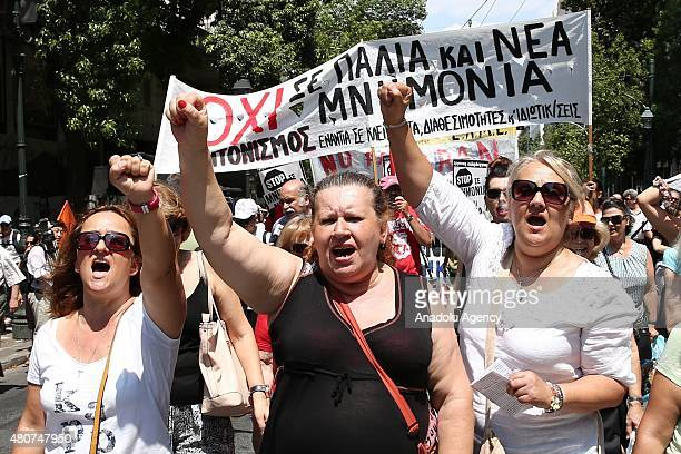 Greece's small leftwing Anticapitalist Left Cooperation for the Overthrow party stage a protest against Greece's new loan bailout agreement in Athens...