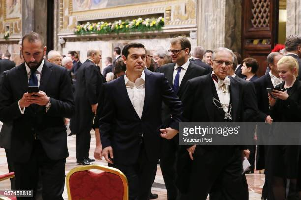 Greec's Prime Minister Alexis Tsipras attends a meeting with Pope Francis at the Regia Hall on March 24 2017 in Vatican City Vatican Pope Francis...