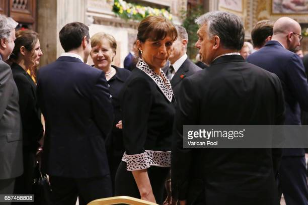Greec's Prime Minister Alexis Tsipras flanked by his wife Germany's Chancellor Angela Merkel Prime Minister of Hungary Viktor Orban and wife chat...