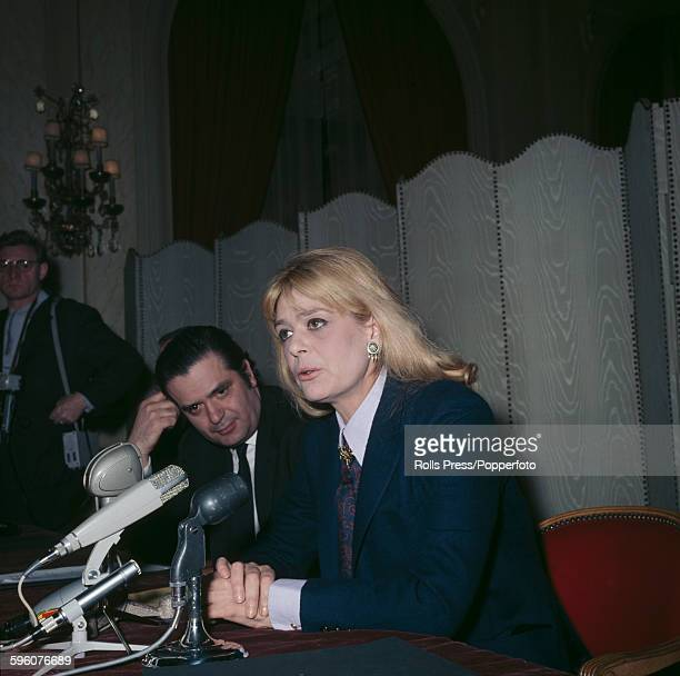 Greek actress Melina Mercouri speaks at a press conference in 1968 to voice her opposition to the Greek military junta's takeover of Greece following...