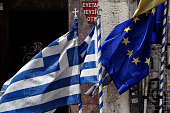 Greek and European Union flags on June 3 in Athens Greece Greek Prime Minister Alexis Tsipras is expected to be presented with the international...