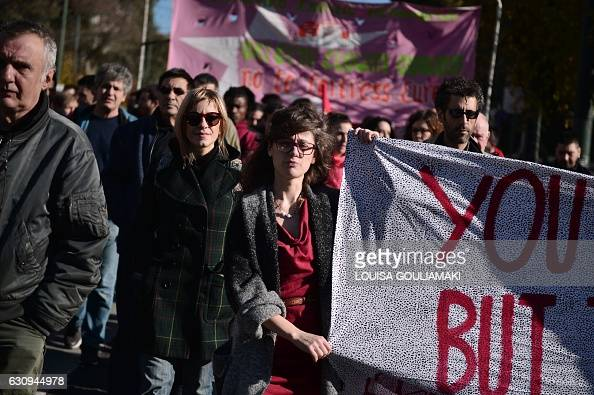 Greek and foreign promigrant activists march towards the greek parliament in Athens during a solidarity protest against the 'fortress Europe' on...