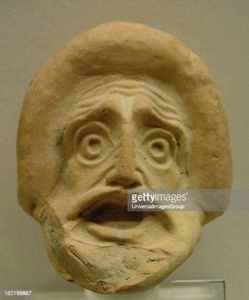 Greek Art 4th century BC Tragic theatrical mask Archaeological Museum of Olympia Greece