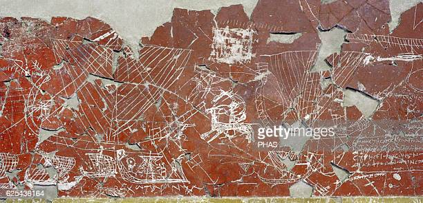 Greek art Fragment of a wall facing of a Sanctuary with polychrome paiting and Graffiti Plaster paints First half of the 3rd c BC Nymphaion Bosporan...
