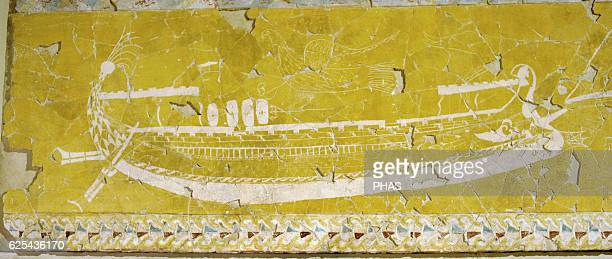 Greek art Fragment of a wall facing of a Sanctuary with polychrome paiting and Graffiti Vessel Plaster paints First half of the 3rd c BC Nymphaion...