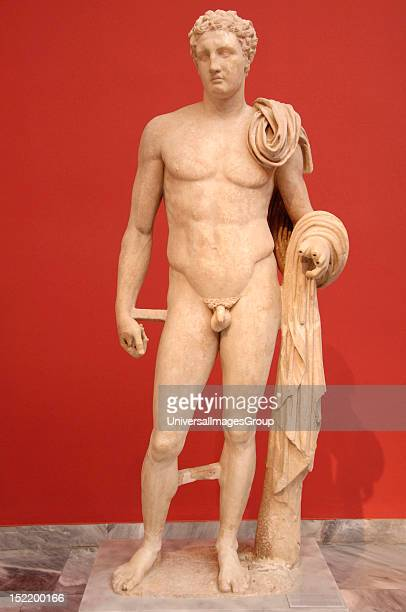 Greek Art Greece Funerary sculpture of a young man depicted as the god Hermes carved in marble Pentelic Located in Atlanta Phthiotis Dated in 2nd...
