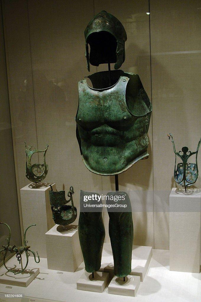 Greek art Magna Graecia Bronze helmet cuirass and shin guard Muzzle and horse armor Apulia Region Metropolitan Museum of Art New York United States
