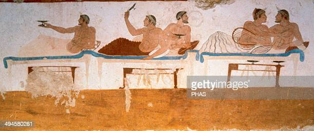 Greek art Tomb of the Diver 5th century BC Using a true fresco technique Symposium north wall National Museum of Paestum Italy