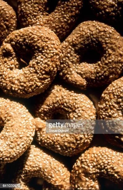 Greek bread rings with sesame, also known as Koulourakia