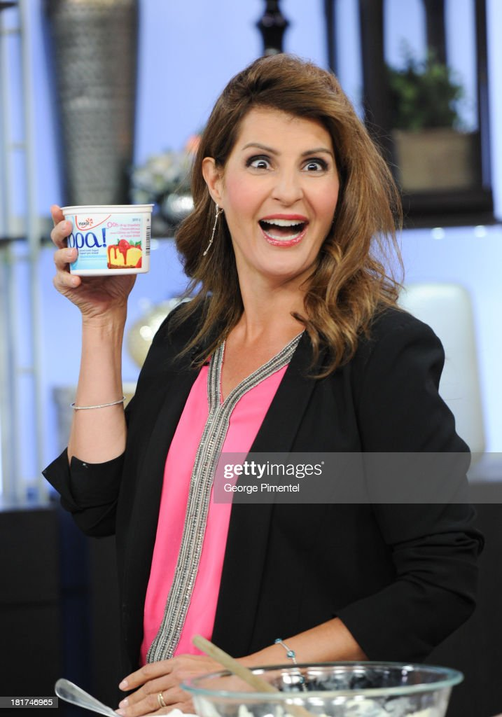 Greek Canadian actress <a gi-track='captionPersonalityLinkClicked' href=/galleries/search?phrase=Nia+Vardalos&family=editorial&specificpeople=201549 ng-click='$event.stopPropagation()'>Nia Vardalos</a> appears live on The Marilyn Denis Show at Bell Media Headquarters on September 24, 2013 in Toronto, Canada.