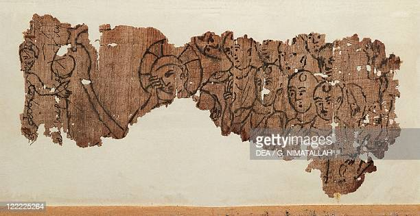 Greek civilization 2nd century AD Papyrus from Ossirinco Fragments of papyrus depicting Christ and the Apostles From Al Bashnasa Egypt