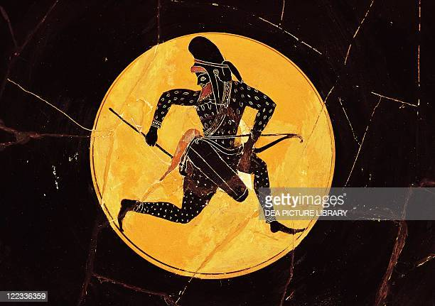 Greek civilization 4th century bC Blackfigure pottery Cup attributed to Oltos Detail Persian Archer