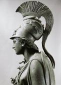 Greek civilization 4th century bC Bronze statue of Athena with crest Detail head