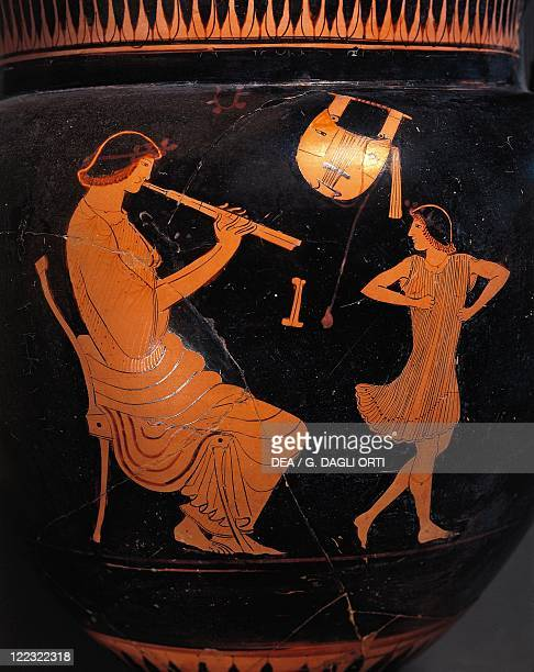 Greek civilization 5th century bC Redfigure pottery Vase attributed to the Painter of Cambridge Detail scene of dance lesson