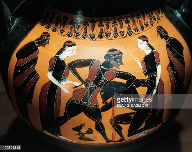 Greek civilization 6th century bC Blackfigure pottery Amphora with Theseus fighting against the Minotaur attributed to the Painter of the Birth of...