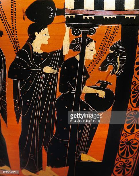 Greek civilization 6th century bC Blackfigure pottery Attic amphora from Vulci Latium region Italy Detail women with amphorae at the fountain