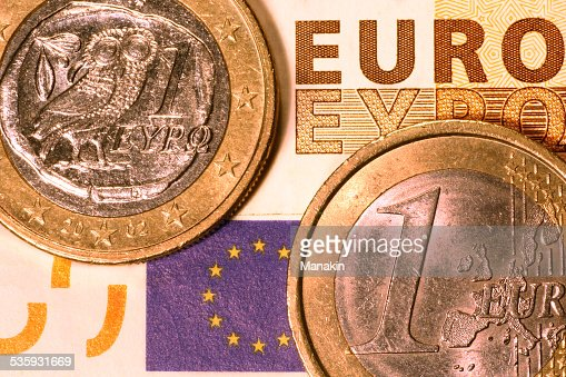 Greek coin & other euro currency : Stock Photo