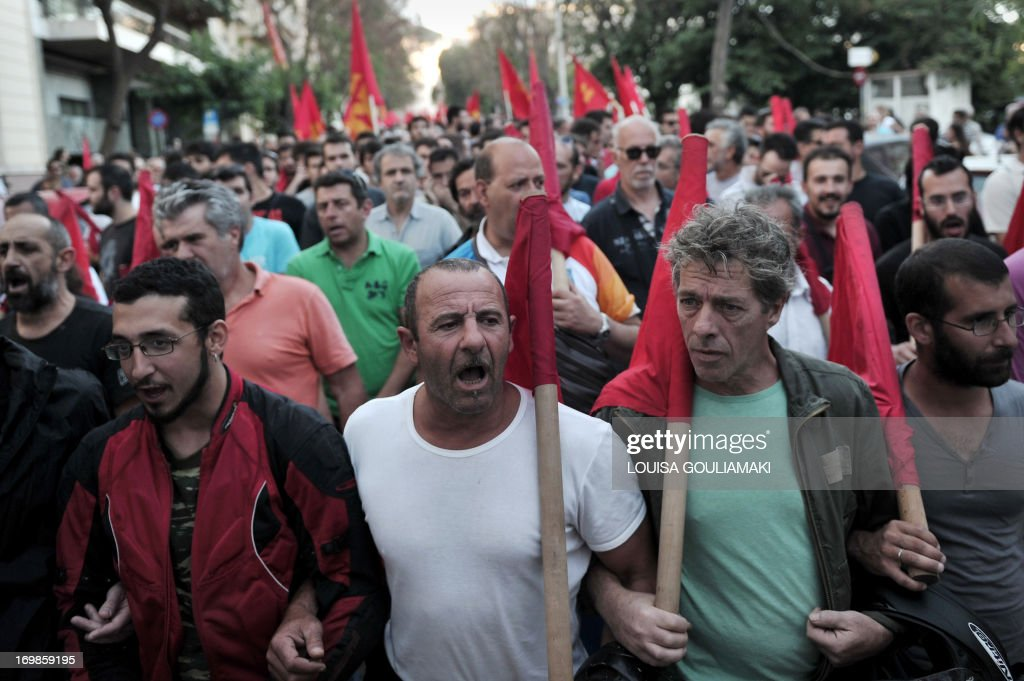 Greek communist party members and supporters march towards the Turkish embassy in Athens on June 3, 2013 during a solidarity march for Turkish protesters and the Turkish communist party. Turkish Prime Minister Recep Tayyip Erdogan on Monday rejected talk of a 'Turkish Spring', shrugging off mass protests against his government as medics reported the first death in days of violence.