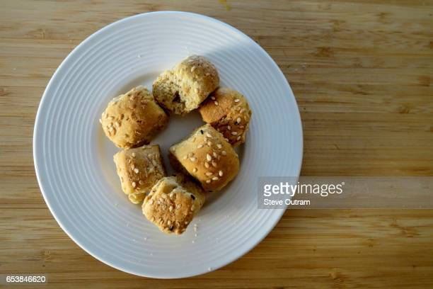 Greek Cuisine. A Plate of Boukies. Small Rusks