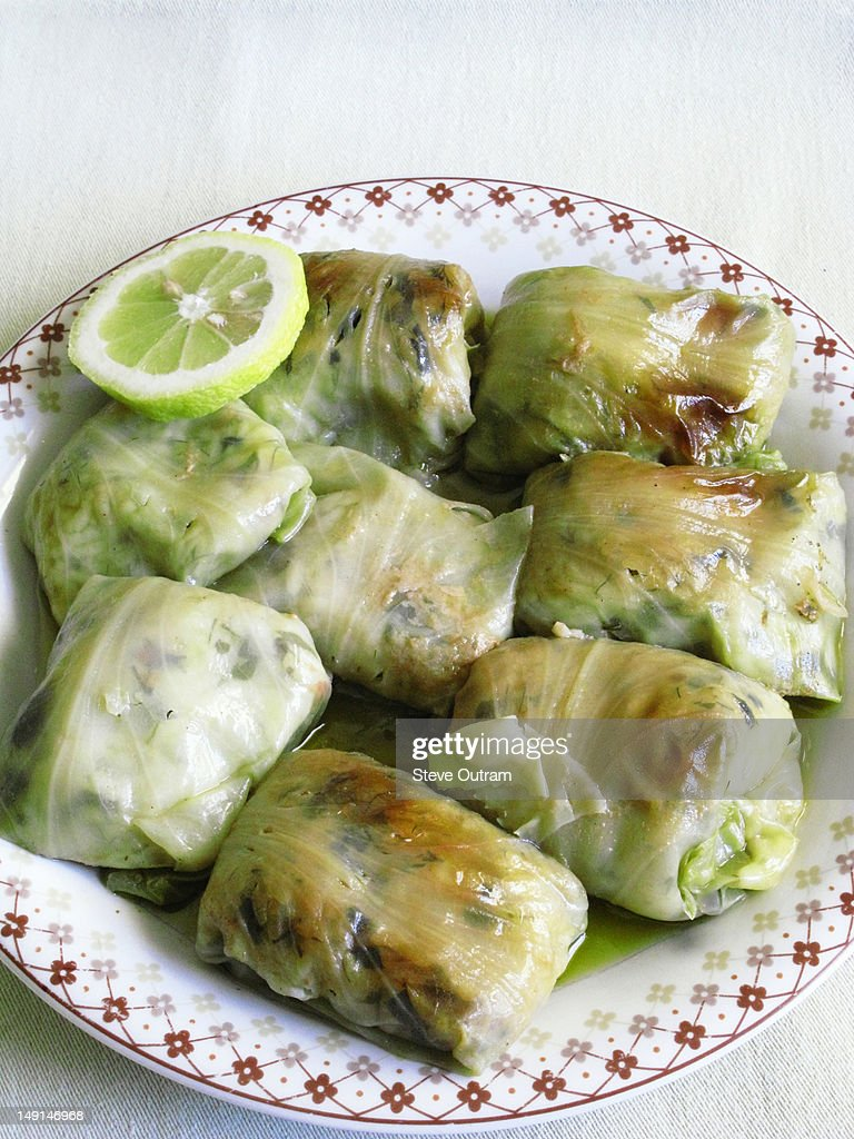 Greek cuisine; stuffed cabbage leaves, dolma : Stock Photo
