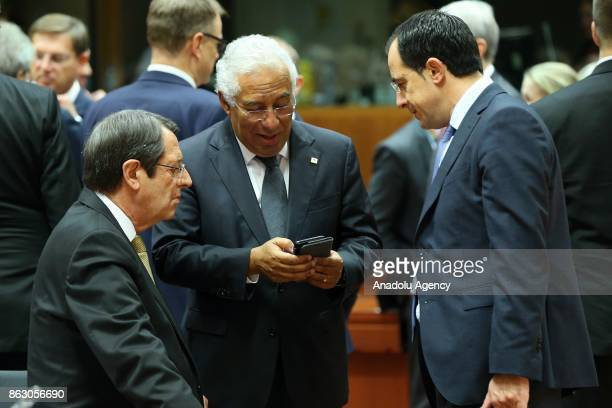 Greek Cypriot leader Nikos Anastasiadis and Prime Minister of Portugal Antonio Costa attend the European Council Meeting at the Council of the...
