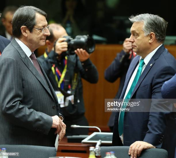 Greek Cypriot leader Nikos Anastasiadis and Prime Minister of Hungary Viktor Orban attend the European Council Meeting at the Council of the European...