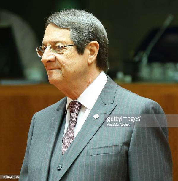 Greek Cypriot leader Nikos Anastasiadis attends the European Council Meeting at the Council of the European Union building on October 20 2017 in...