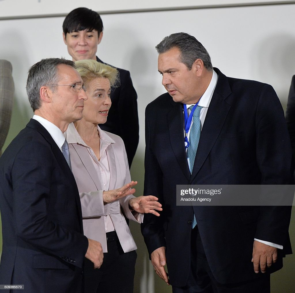 Greek Defence Minister Panos Kammenos (right), German Defence Minister Ursula von der Leyen (left 2), and Nato Secretary General Jens Stoltenberg (left) attend the NATO Defense Ministers meeting at the NATO headquarters in Brussels, Belgium on February 10, 2016.