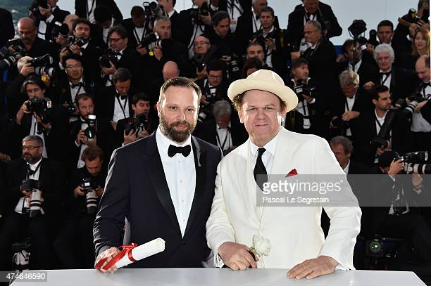 Greek director Yorgos Lanthimos poses at the photocall with John C Reilly after being awarded with the Jury prize during the 68th annual Cannes Film...