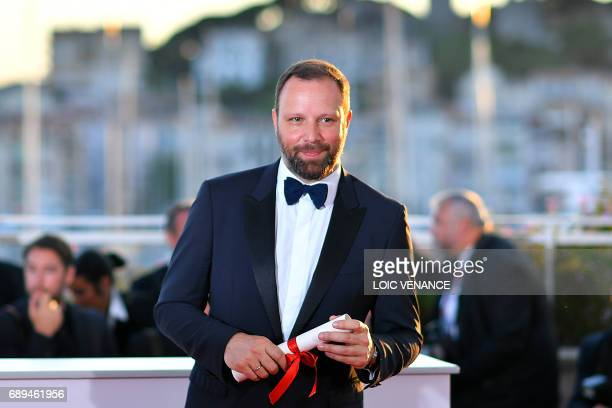 Greek director Yorgos Lanthimos poses during a photocall on May 28 2017 after he won won the Best Screenplay prize for his film 'The Killing of a...