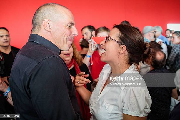 Greek Economist and Politician Yanis Varoufakis and Green candidate for the French Presidential Election in 2017 Cecile Duflot attend the 'Festival...