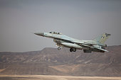Greek F16 jet takes off on December 9 2014 at the Ovda airbase in the Negev Desert near Eilat southern Israel Israel and Greece concluded a Joint Air...