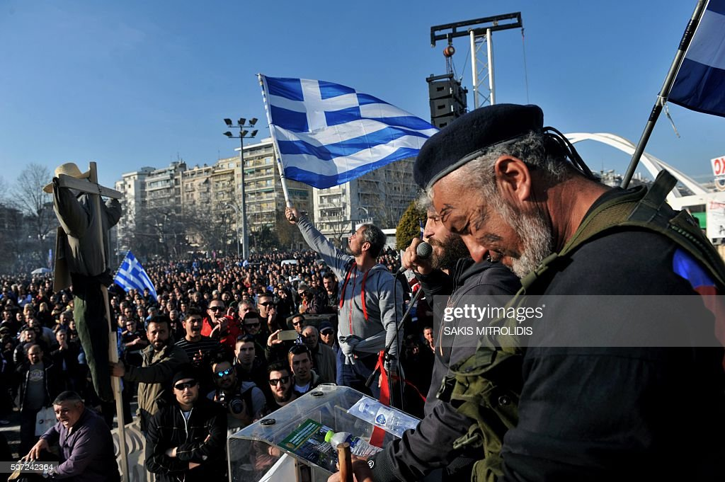 Greek farmers take part in a protest against a controversial pension reform that is part of the country's tough economic bailout in Thessaloniki on...