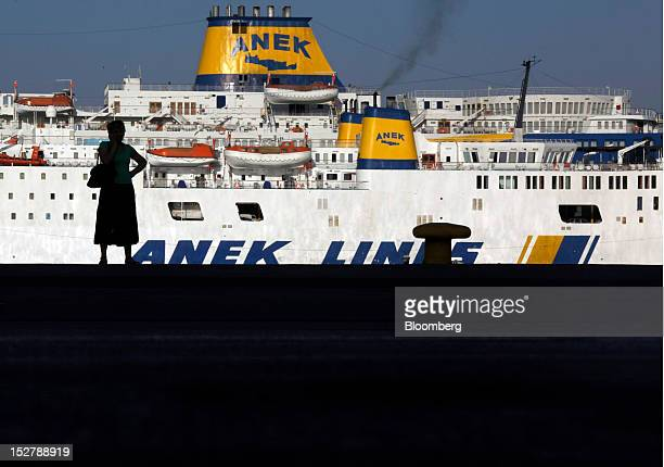 Greek ferries operated by Anek Lines SA stand moored to the port quayside during the general strike in Athens Greece on Wednesday Sept 26 2012 Police...