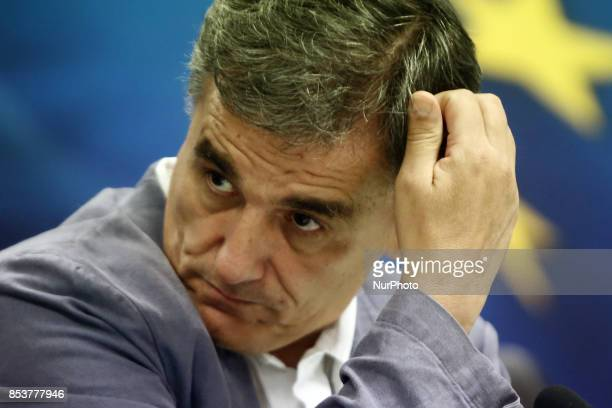 Greek Finance Minister Euclid Tsakalotos during a joint press conference with Eurogroup chief at the Finance Ministry in Athens on September 25 2017 T