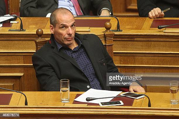 Greek Finance Minister of Greece Yanis Varoufakis attends the debates about the government's policy declared by Prime Minister Alexis Tsipras on...