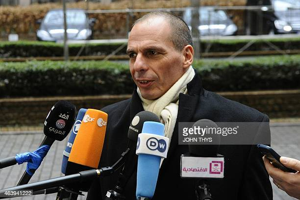 Greek Finance Minister Yanis Varoufakis arrives on February 20 2015 for an emergency Eurogroup finance ministers meeting at the European Council in...