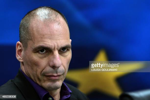 Greek Finance Minister Yanis Varoufakis arrives to present his ministry's new secretaries at a press conference in Athens on March 4 2015 Strapped...