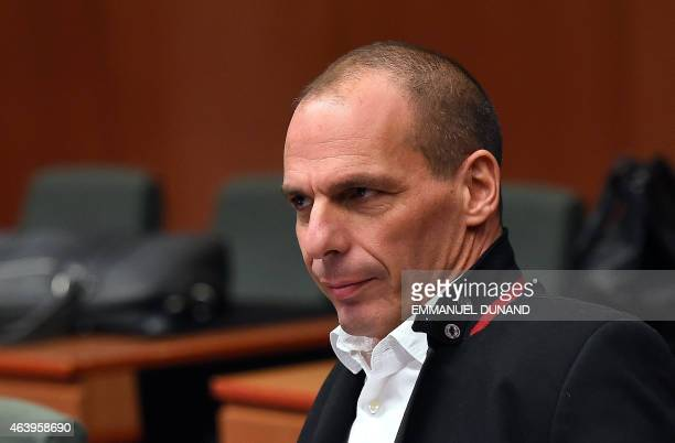 Greek Finance Minister Yanis Varoufakis attends an emergency Eurogroup finance ministers meeting at the European Council in Brussels on February 20...