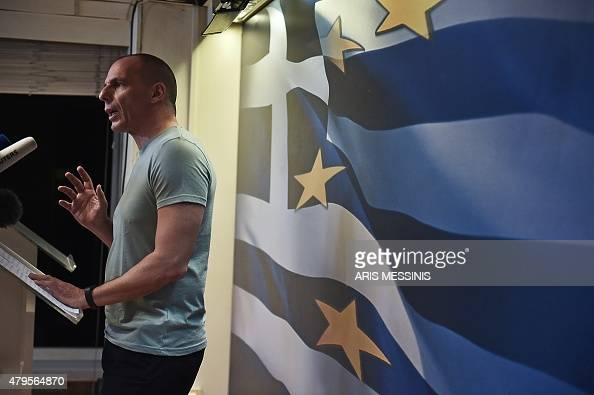 Greek Finance Minister Yanis Varoufakis delivers a speech in Athens on July 5 after early results showed those who rejected further austerity...