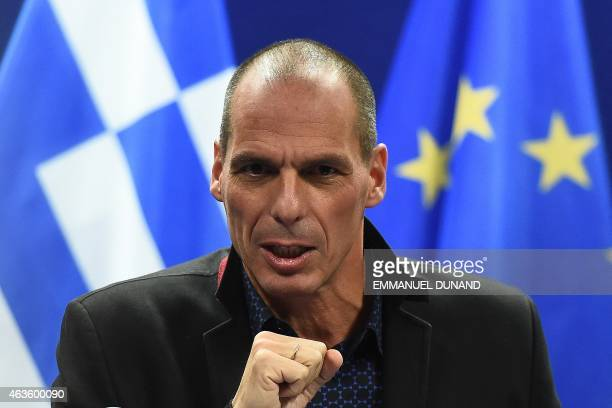 Greek Finance Minister Yanis Varoufakis gives a press conference on February 16 2015 at the end of an Eurogroup finance ministers meeting at the...