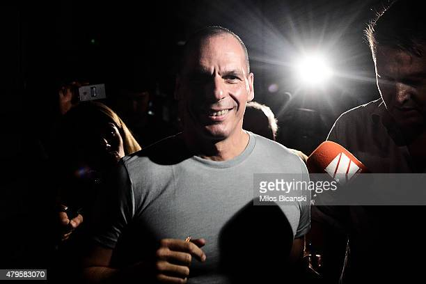 Greek Finance Minister Yanis Varoufakis leaves his office as Greek voters are expected to vote no in the Greek austerity referendum on July 5 2015 in...