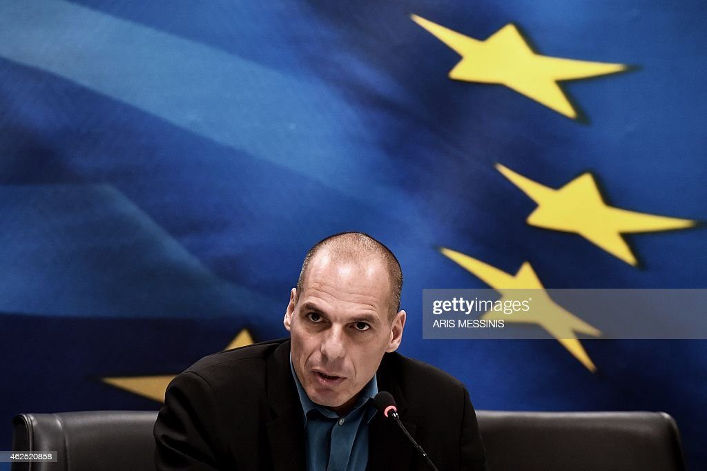 Greek Finance Minister Yanis Varoufakis speaks during a press conferense after his meeting with the Eurogroup chairman in Athens on January 30 2015...