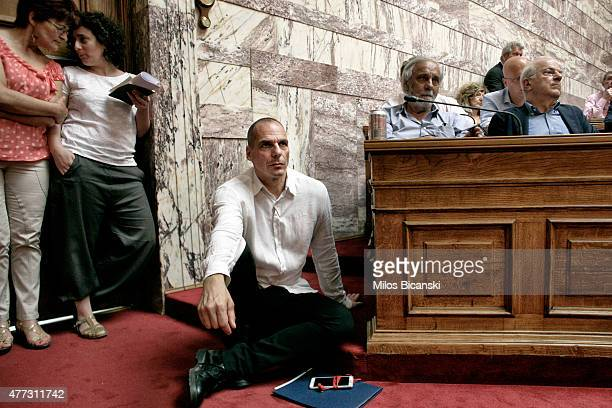 Greek Finance Minister Yianis Varoufakis attends a meeting as Prime Minister Alexis Tsipras addresses his party members and ministers at the Greek...